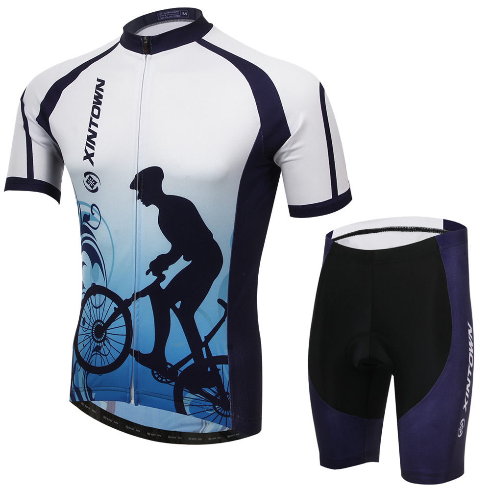 XINTOWN Men Women Mountain Bike Clothing Sets 2017 New Summer Short Sleeve Polyester Cycling Jersey and Shorts Cheap Sport Suit