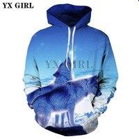 YX GIRL 2018 Fashion Brand Clothing Animal Wolf 3D Print Hoodies Sweatshirts Men Women Hoodie Casual