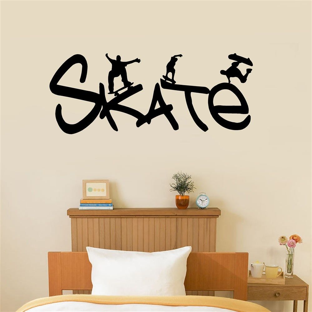 Skate Sports Wall Stickers For Boys Rooms Wall Decals Removable Adhesives Murals Vinyl Words Stickers Home Decal Kids Decor S151