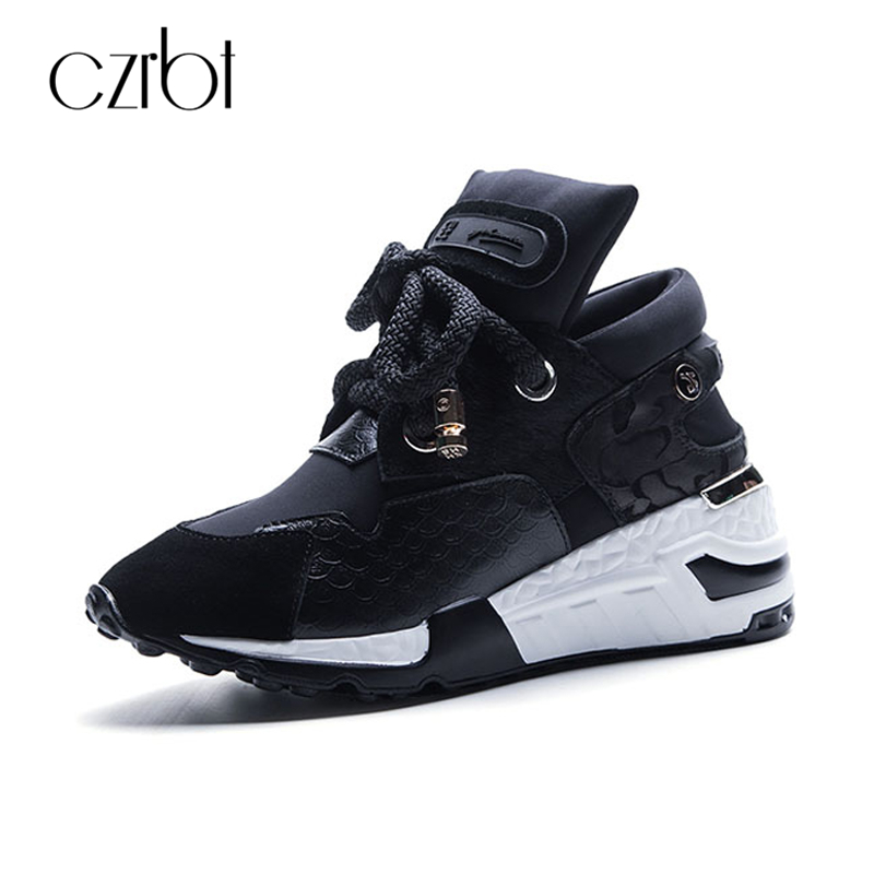 CZRBT Spring Autumn Women Shoes High Quality Cow Leather Horsehair Height Increasing Casual Shoes Woman Fashion Platform Shoes height increasing spring autumn new canvas female women s platform shoes full black fashion shoes