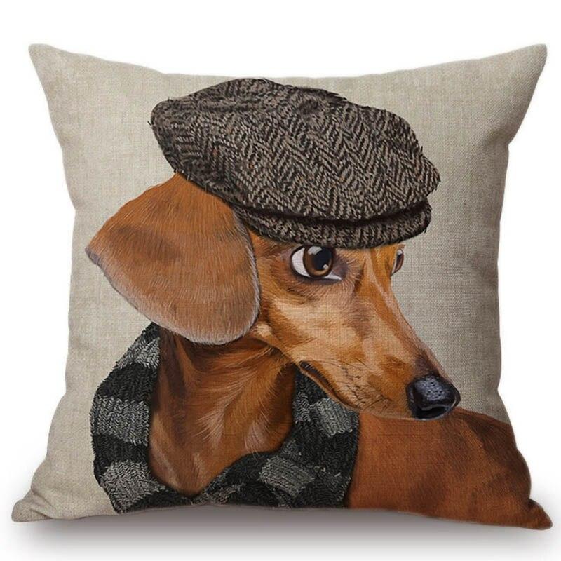 2018 модная модель собаки в шляпе джинсы костюм Бэтмена декоративная наволочка из хлопка и льна милая сумка для дивана