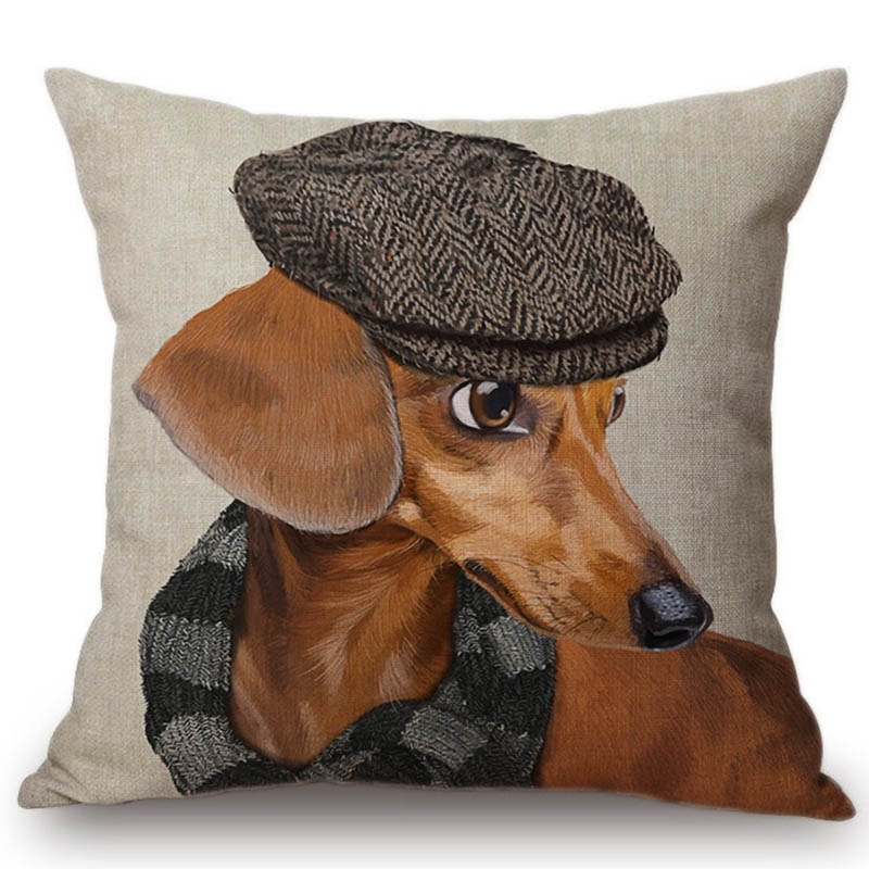 2018 Fashion Dog Model in Hat Jeans Batman Costume Decorative Pillow Case Cotton Linen Lovely Dachshund Doxie Sofa Cushion Cover