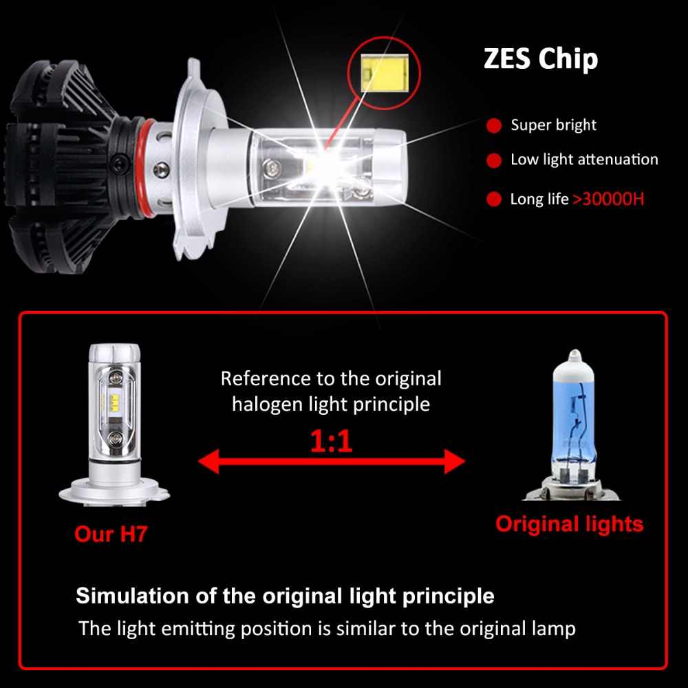 AcooSun H4 Led CSP Chips 50W/set 9005 H7 LED Headlights Auto-styling 9006 Led Car Bulb H1 H11 Fog Lamp Fanless 3000K 6500K 8000K