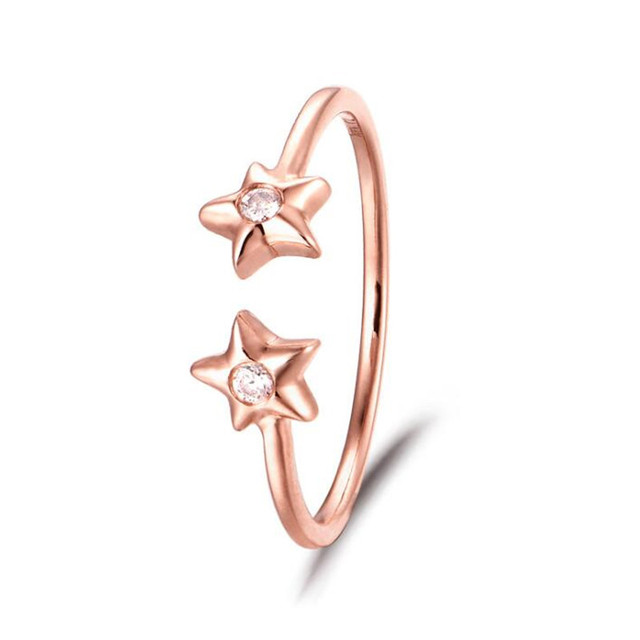 100% 18K Gold Zircon Double Star Open Rings For Women Lady Fashion Jewelry Drop Shipping 1.11G