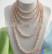 "Free shipping >>@ 1636 100"" 9MM WHITE PINK ROUND FW CULTURED PEARL NECLACE(China)"