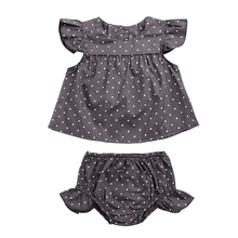 2pcs Dotted Girl Clothes Set Kids Girl Clothes Set Toddler Baby Girls Dot T-Shirt Tops+Shorts Pants Outfits Clothes Summer