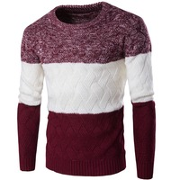 2017 Men Winter Pullovers Fashion Knitted Mens Sweaters O Neck Slim Fit Man Contrast Colors Knitwear