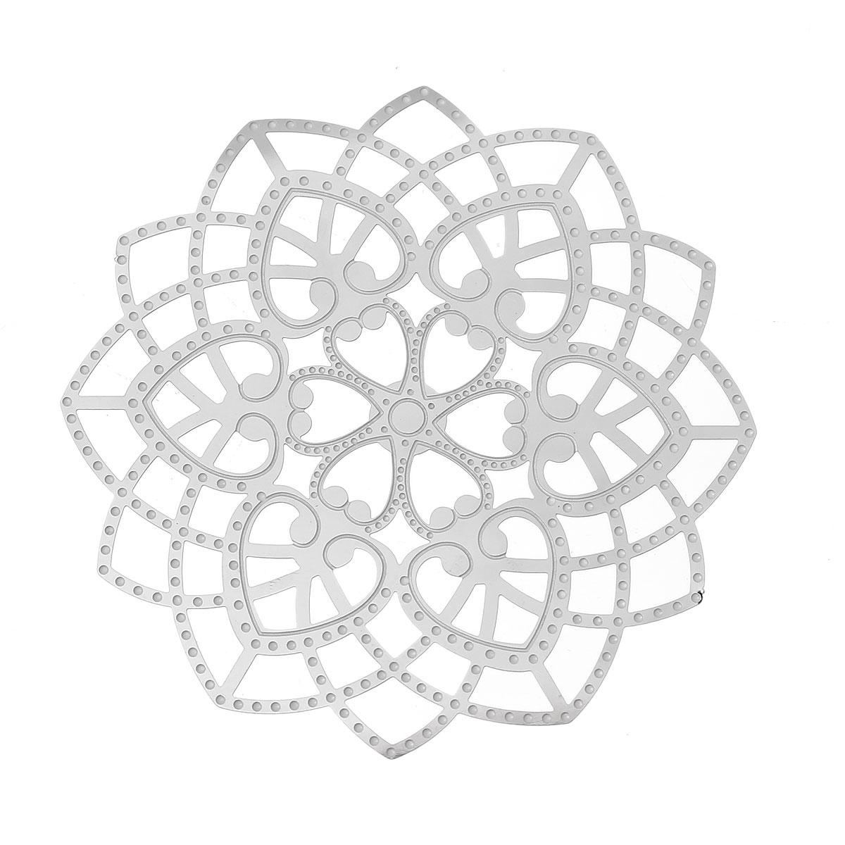 DoreenBeads Filigree Stainless Steel Embellishments Findings Flower Silver Tone Heart 6.2cm(2 4/8