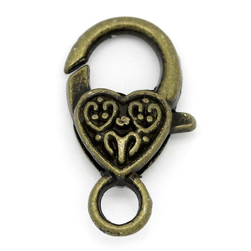 DoreenBeads Zinc Metal Alloy Lobster Clasp Antique Bronze Heart Pattern 26mm(1