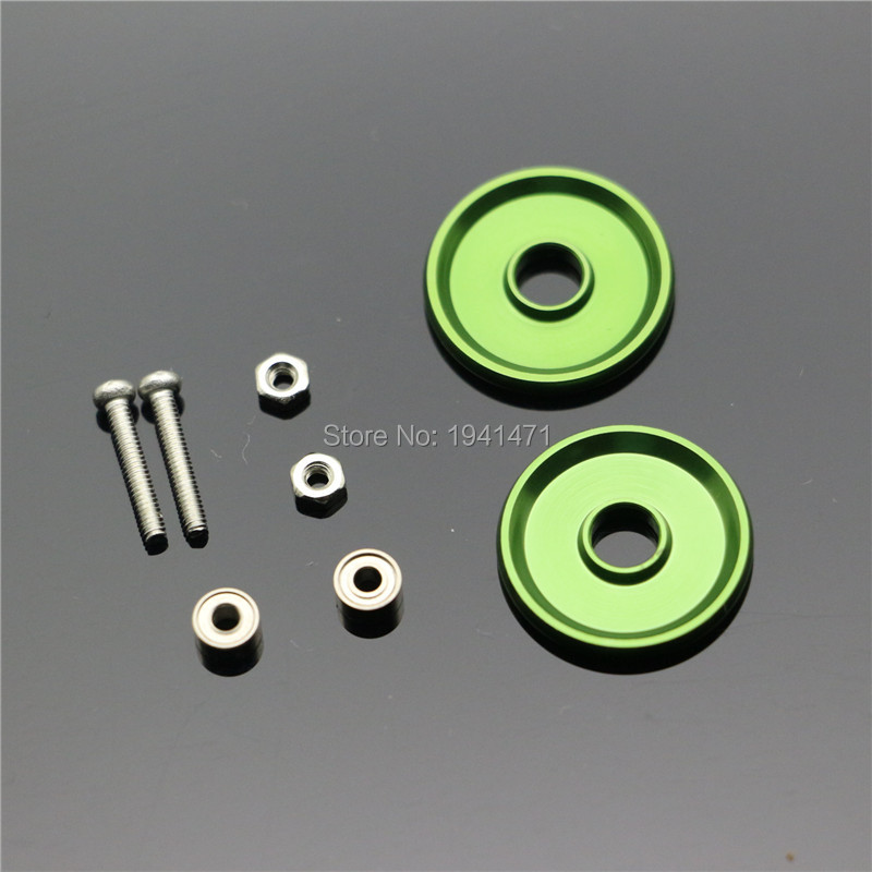 RFDTYGR Mini 4wd 19mm Aluminiumvalsar Självtillverkade delar till Tamiya MINI 4WD 19mm färgad aluminium Guide -Wheel D002 2sets / lot