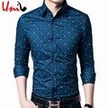4XL Мужчины Горошек Рубашка Мода Цветочный Бренд Clothing Casual мужская Хлопок Формальные Рубашки С Длинным Рукавом Slim Fit Человек Рубашка U87