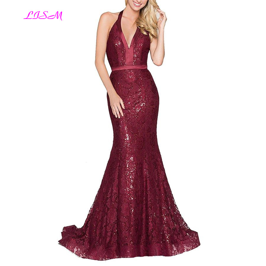Sexy Sparkling Sequins Mermaid   Evening     Dresses   V-Neck Halter Lace Sweep Train Formal Gowns Long Backless Prom   Dress   robe soiree