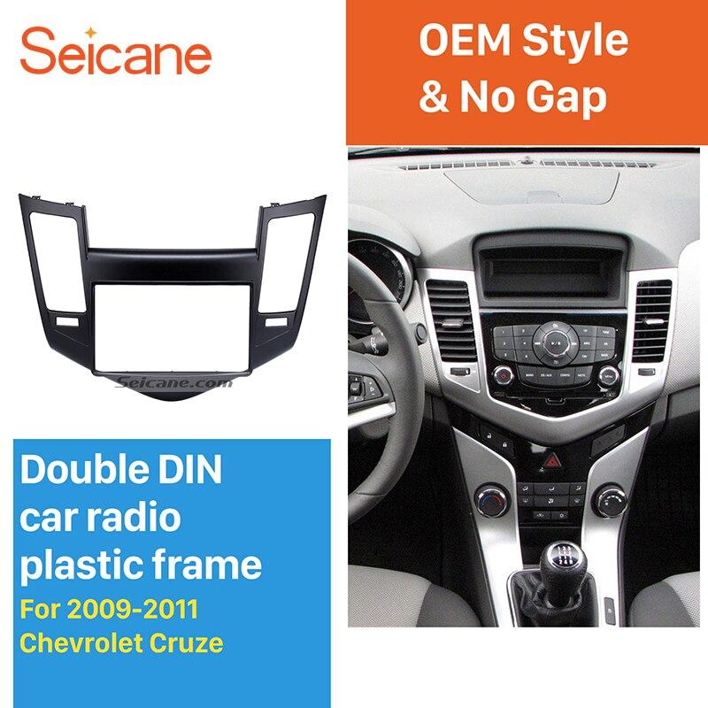 Seicane 2 Din voiture Radio Fascia cadre tableau de bord panneau Kit pour 2009 2010 2011 Chevrolet Cruze stéréo couverture plaque garniture installation