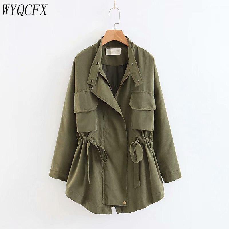 Spring Autumn   Trench   Coat For Women Casual Loose Adjustable Waist Outerwear 2019 Fashion Korean Female Harajuku Windbreaker Navy