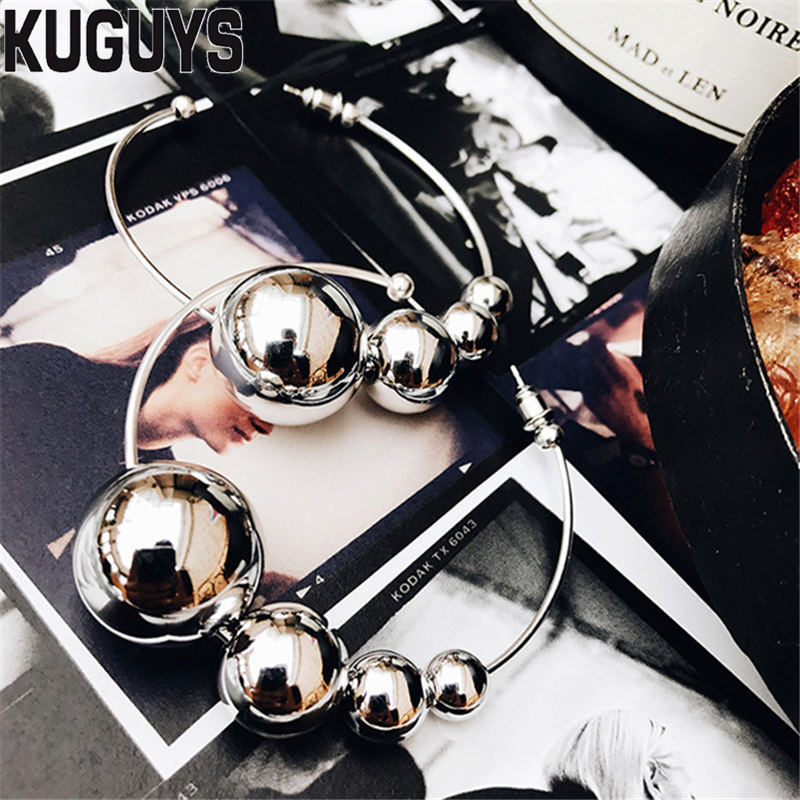 KUGUYS Silver Ball Round Earrings for Womens Fashion Jewelry Pendientes Trendy Basketball Hoop Earring Brincos