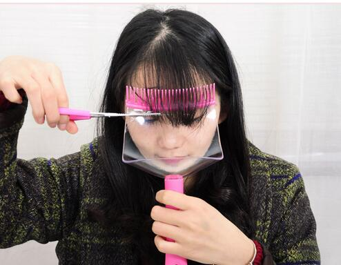 DIY Hair Bangs Fringe Cut Comb Clip Home Fashion Portable Trimmer Tool Kit Clipper Guide ...
