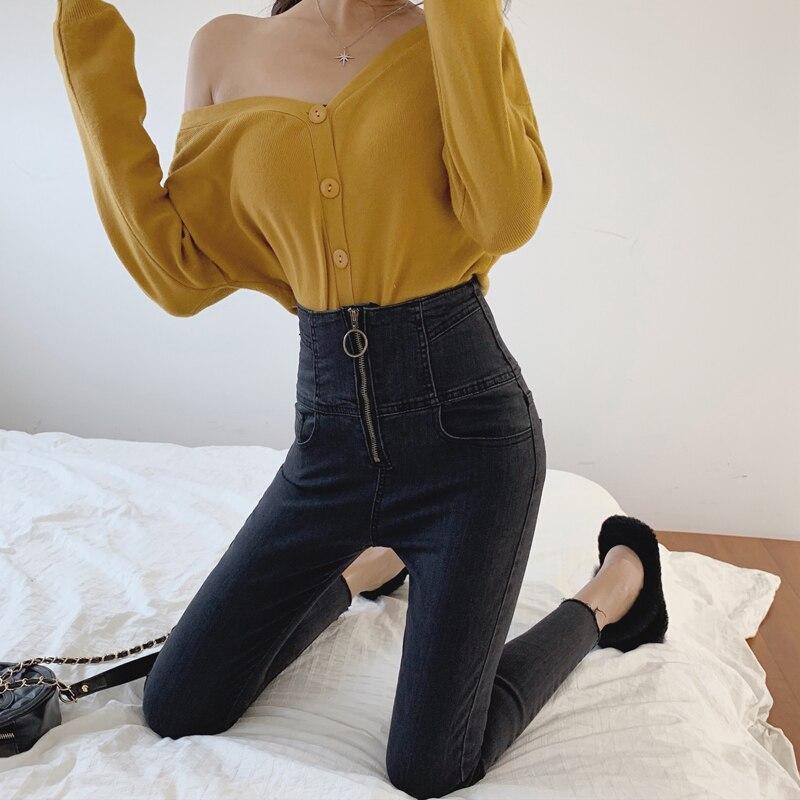 Metal Ring Zipper Skinny Jeans Woman 2019 Spring Summer Korean Fashion Ladies Tassel High Waist Pencil Jeans Denim Trousers
