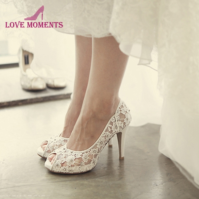 e7f6f398bc5b Bling Bling Flowers Wedding Shoes Pretty Stunning Heeled Bridal Dress Shoes  Peep Toe White Lace Crystal