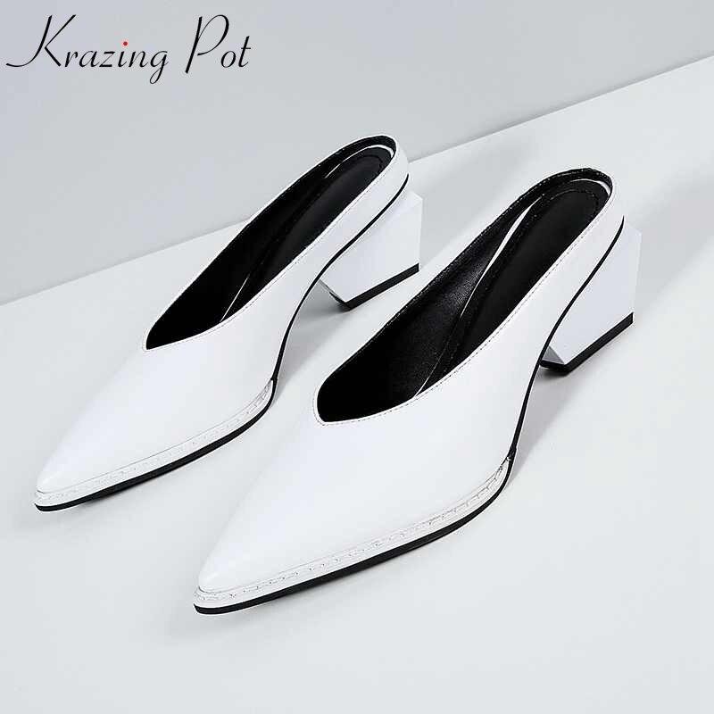2018 hot sale Krazing pot brand shoes square high heels streetwear mules elegant genuine leather slip on women summer pumps L86