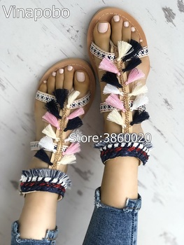 2018 Women Bohemia Gladiator Multicolored Pom Pom Sandals Lace Up Flat Heel Fringe Tassel Sandalias Pompones Beach casual Shoes