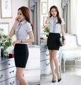 Moda verão Cor Listrado Mulheres Formais Saia Ternos Tops E Conjuntos de Saia Ternos Para O Office Ladies Shirts Blusa Uniforme