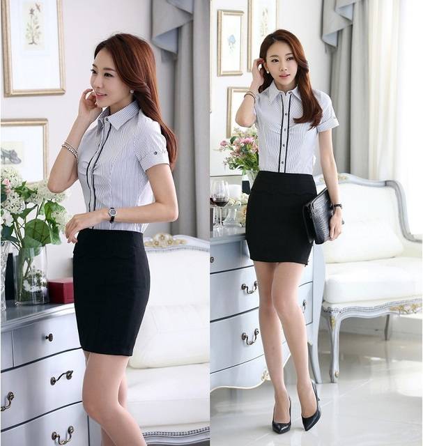 Summer Fashion Striped Color Formal Women Skirt Suits Tops And Skirt Business Suits For Office Ladies Shirts Blouse Sets Uniform