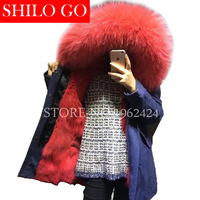 Top 2017 New Women Winter Army Green & Black Thick Parkas Plus Size Real Raccoon Canada Red Wolf Fur Collar Hooded Out wear coat