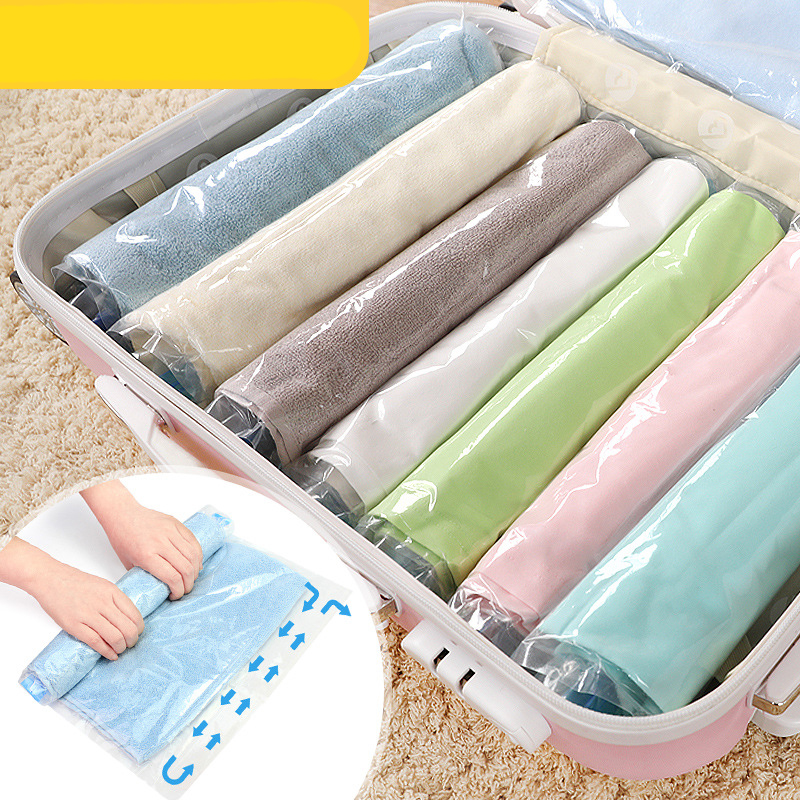 4PCS Clothes Compression Storage Bags For Travel Hand Rolling Vacuum Bag Pouch Sealer Luggage