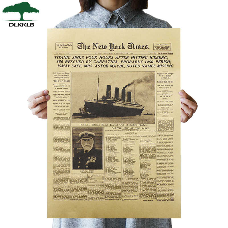 DLKKLB Vintage Movie The New York Times Posters The Titanic Sank Headlines  Posters Wall Stickers Room Decoration Paintings