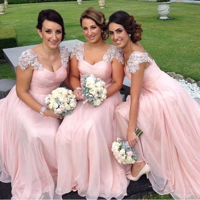 9ce1f98051 2015 Fashion Vintage V neck Cap Sleeve Pink Bridesmaid Dresses ...