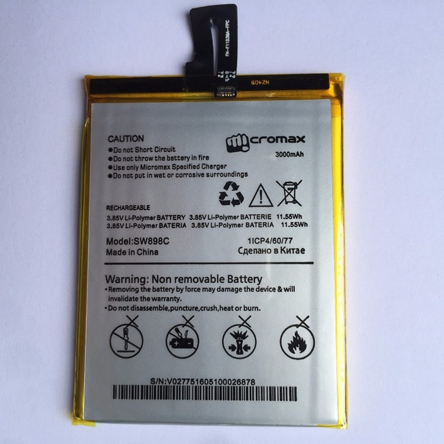 100% New Replacement Mobile phone battery For Micromax Q382 3.85V 3000mAh Batteries For Micromax Q380 Phone Accumulator