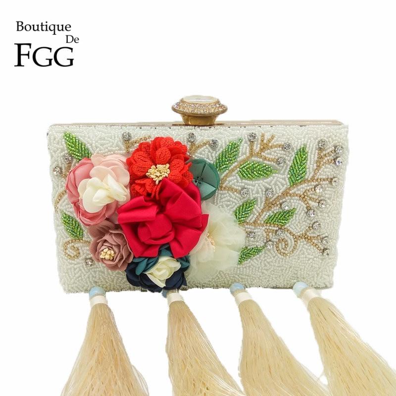 Boutique De FGG Graceful Beige Beaded Satin Evening Purse Flower Clutch Handbag Wedding Party Cocktail Crystal Tassel Floral Bag jupe de satin пальто
