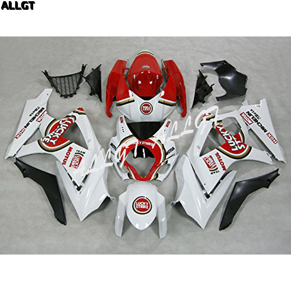 ABS Injection Mold White Red Plastic Fairings For Suzuki GSXR 1000 K7 2007 2008 injection mold 100% fit for suzuki gsxr1000 03 04 k3 silver black fairings set gsxr 1000 2003 2004 k4 yi119