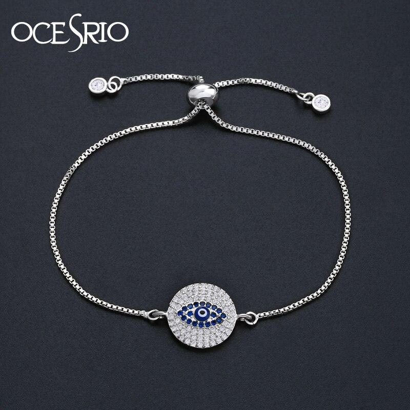 4c57b955f39 OCESRIO Evil Eye Bracelet Silver Zirconia Round CZ Blue Eye Bracelets for Women  Turkish Jewelry pulseira feminina brt b08-in Charm Bracelets from Jewelry  ...