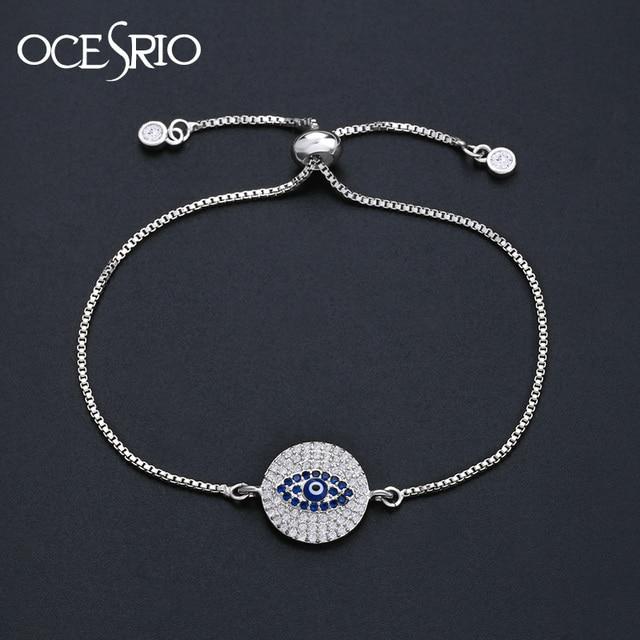 78e3ebc51a6 OCESRIO Evil Eye Bracelet Silver Zirconia Round CZ Blue Eye Bracelets for Women  Turkish Jewelry pulseira feminina brt-b08