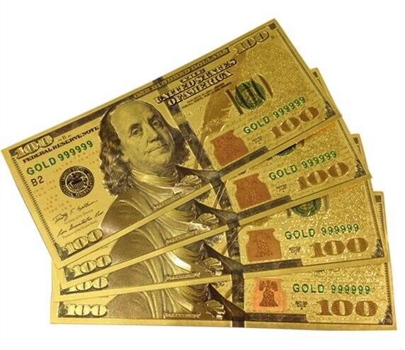 10 шт., коллекция серебряных купюр в США, 100 долларов, банкноты из золотой фольги, коллекции купюр, Подарочные банкноты