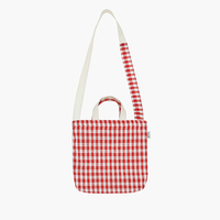 MOREUSEE original lovely canvas red plaid crossbody bags for girls(FUN KIK)