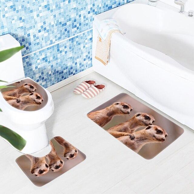 3 Stücke Badezimmer Mat Set Die Drei Braun Erdmännchen Bad Produkte  Anti Rutsch Badematte/