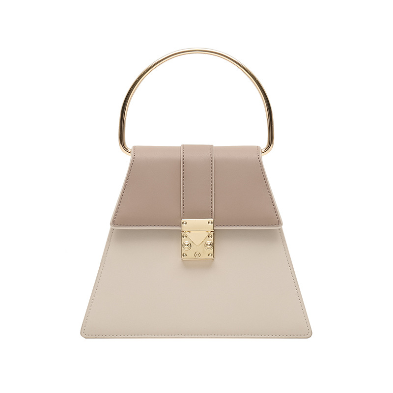 Geometric Trapezoidal Panelled Shoulder Bag Genuine Leather Hand Bag Metal Handle for WomenGeometric Trapezoidal Panelled Shoulder Bag Genuine Leather Hand Bag Metal Handle for Women