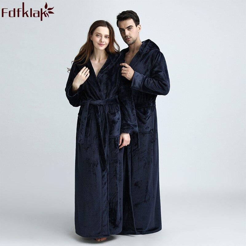 Fdfklak haute qualité 2018 hiver nouveau Couple de flanelle peignoir Robe de chambre épaissir Robe de bain Sexy Robe Longue Femme M-XL Q1098