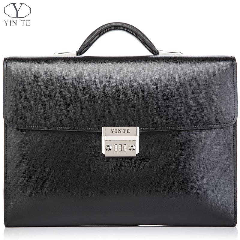 все цены на YINTE Leather Men's Briefcases Classic Leather Business Men's Working Bag Fashion Messenger Handbag Totes Portfolio Men T8383-6 онлайн