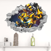 Sticker Wall My Cute The Transformation Robot Children S Bedroom Green Background Removable Wall Stickers Wallpaper