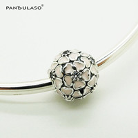 Pandulaso Silver 925 Beads For Jewelry Making Pink Cherry Blossom Clip DIY Fit Charms Silver 925