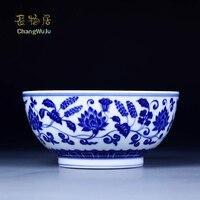 Changwuju в Цзиндэчжэнь Чаши фарфоровая посуда 7 дюйма Ручная роспись синий и белый миску лапши также как салатник