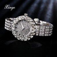 Xinge Brand Women Steel 30m Waterproof Clock Quartz Watch 3A Zircon Crystal Bracelet Watches Women Dress