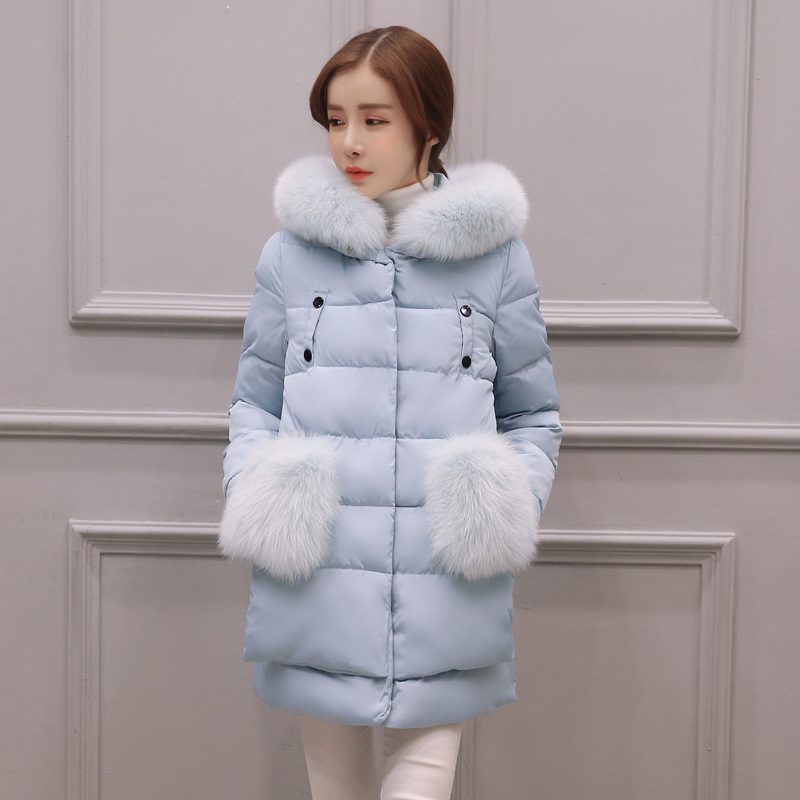 ФОТО 2016 winter new Korean hair collar long down jacket cotton loose female students thicker cotton gown surge