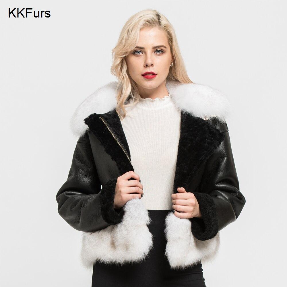 Jacken & Mäntel Original Jkkfurs 2019 Winter Frauen Aus Echtem Schaffell Leder Jacke Fuchs Pelz Kragen Mantel Echtpelz Futter Mode Mantel S7165