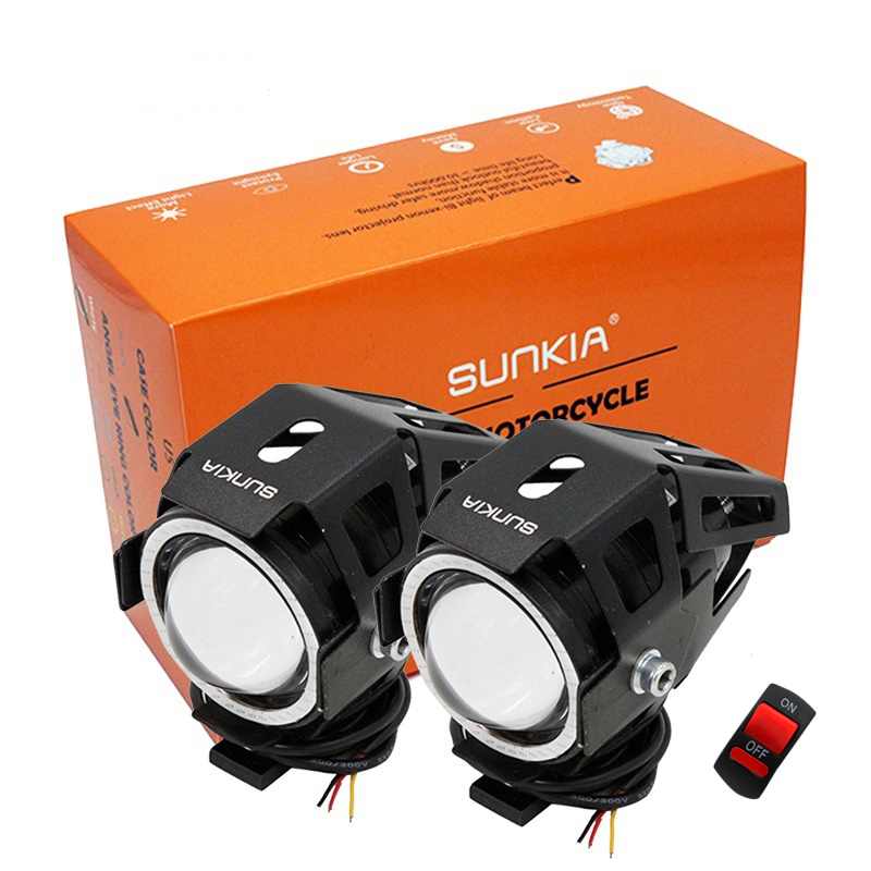 2Pcs / Lot SUNKIA U7 CREE Chip 125w Projector Beic Modur Pennawd 3000LM Motorbike Head Niwl Lamp Angle Angle + Devil Eyes