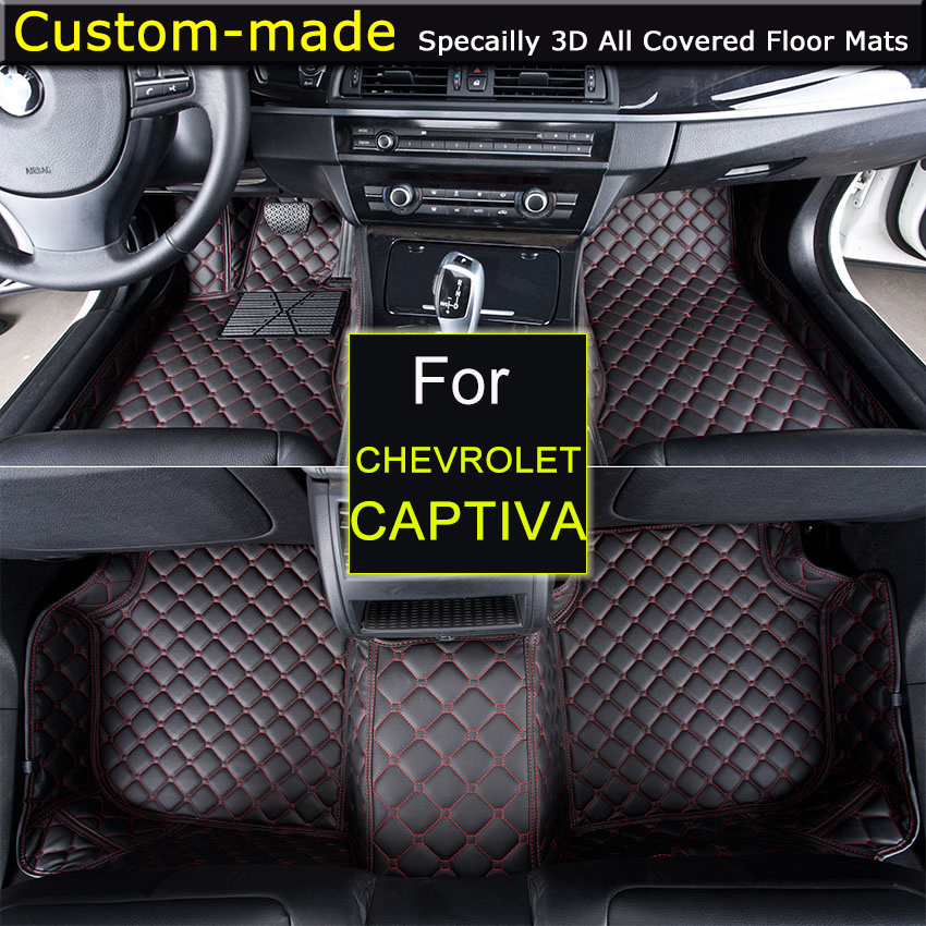 For Chevrolet Captiva 5 / 7 seats Car Floor Mats Car styling Foot Rugs Carpets Custom for Chevy Camaro Cruze Sail Malibu