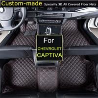 For Chevrolet Captiva 5 / 7 seats Car Floor Mats Car styling Foot Rugs Carpets Custom for Chevy Camaro Cruze Sail Malibu